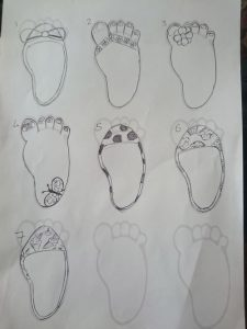 Female feet sketches for stick on labels